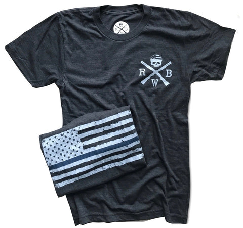 Men's Thin Blue Line Support Law Enforcement T-Shirt (Heather Black)