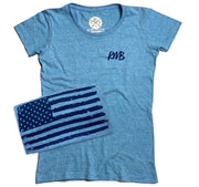 Women's Old Glory American Flag Patriotic T Shirt (Tri-Pool)