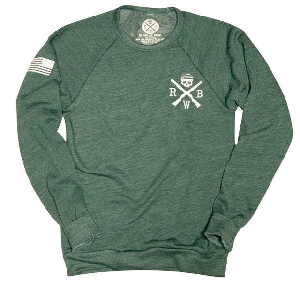 Women's American Flag Raglan Ultra Soft Crew Neck Sweatshirt (Pine)