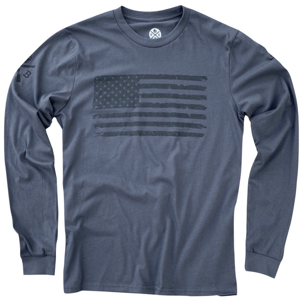 Men's Vintage American Flag Long Sleeve Patriotic T Shirt Charcoal