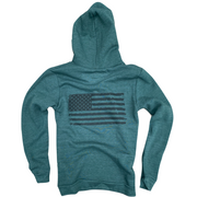 Men's Old Glory American Flag Pullover Heather Pine Hooded Sweatshirt