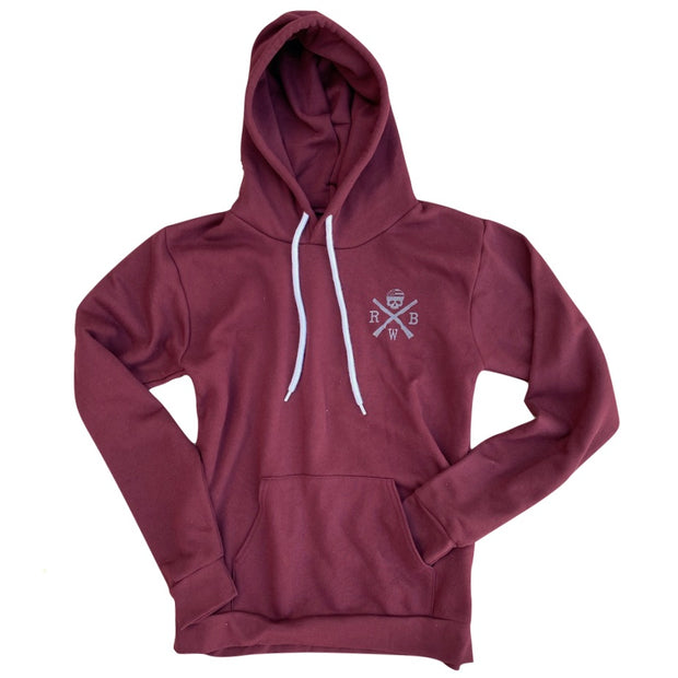 Men's Patriotic American Flag Pull Over  Hooded Sweatshirt Burgundy