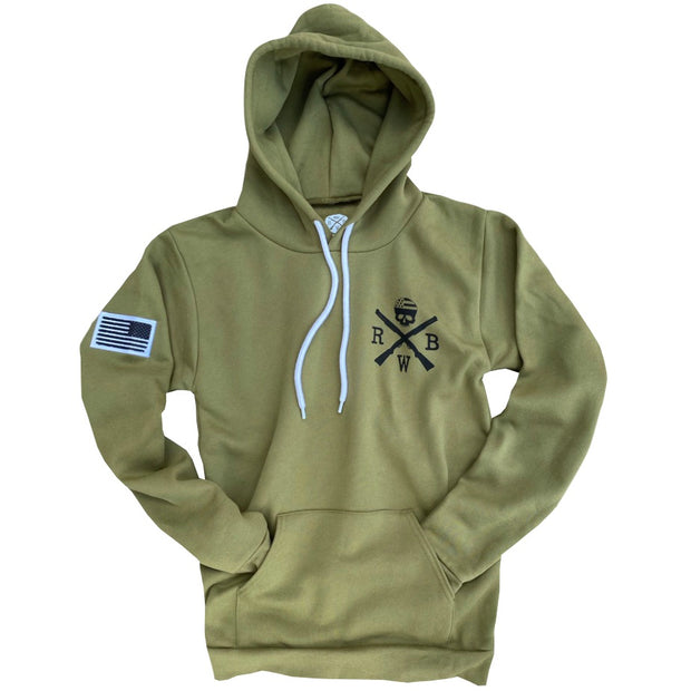 Men's American Flag Patch Patriotic Pullover Hooded Sweatshirt (Olive Drab)