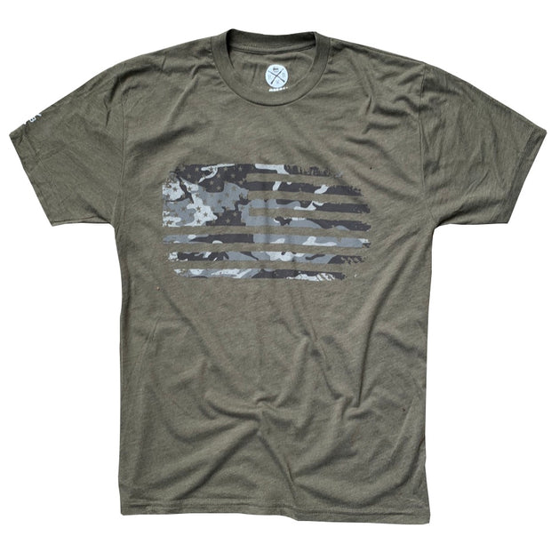 Men's Vintage Woodland Gray Camouflage American Flag Patriotic T-Shirt (Army)