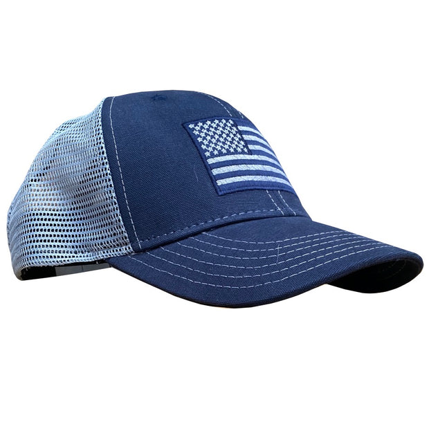 American Flag Snap Back Navy Gray - Trucker Hat