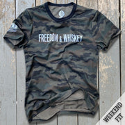 Women's Camo Freedom & Whiskey Patriotic Weekend Fit T Shirt