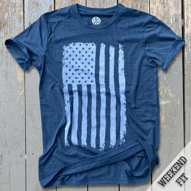 Women's Vertical American Flag Navy T-Shirt