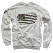 Women's Camo American Flag Crewneck Sweatshirt (Cream)