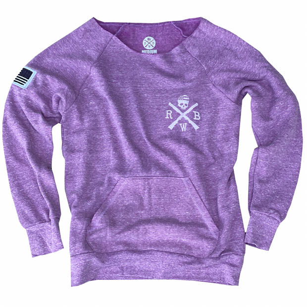 Women's American Flag Patch Pullover Off The Shoulder Sweatshirt (Heather Purple)