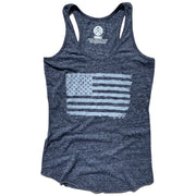 Women's American Flag Racerback Tank Top (Heather Black)