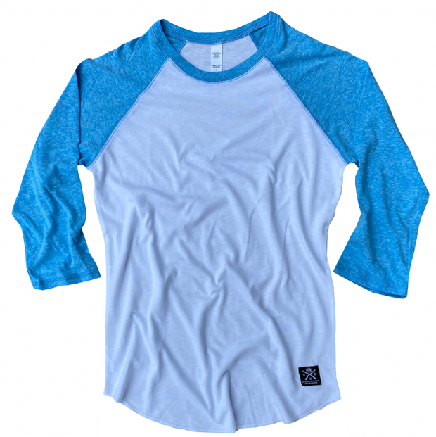 Women's Patriotic Basic Baseball Raglan T Shirt White & Aqua