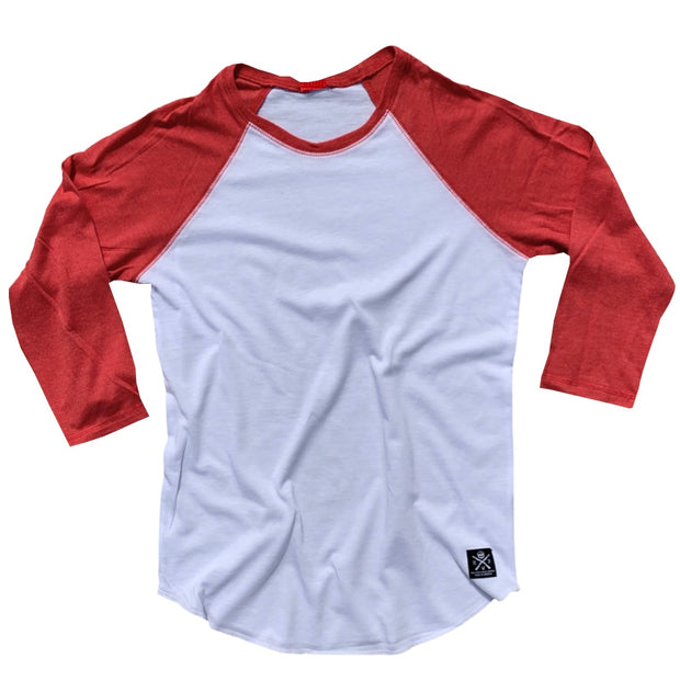 Women's Patriotic Basic Baseball Raglan T Shirt White Red