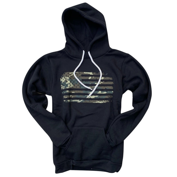 Women's Camo American Flag Pullover Hooded Sweatshirt (Black)