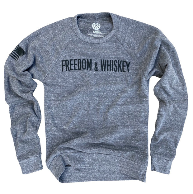 Women's Freedom & Whiskey Ultra Soft Crew Neck Sweatshirt (Gray)