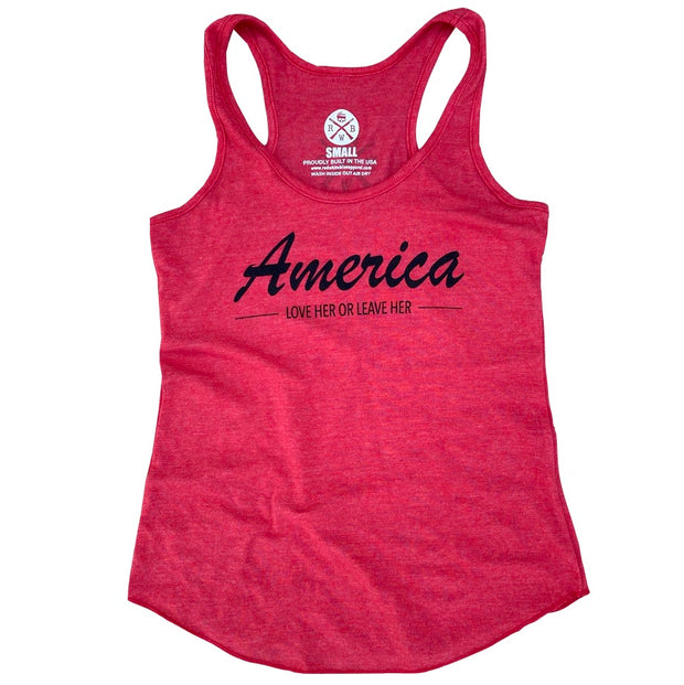 Women's America Love Her Leave Her Racerback Tank Top