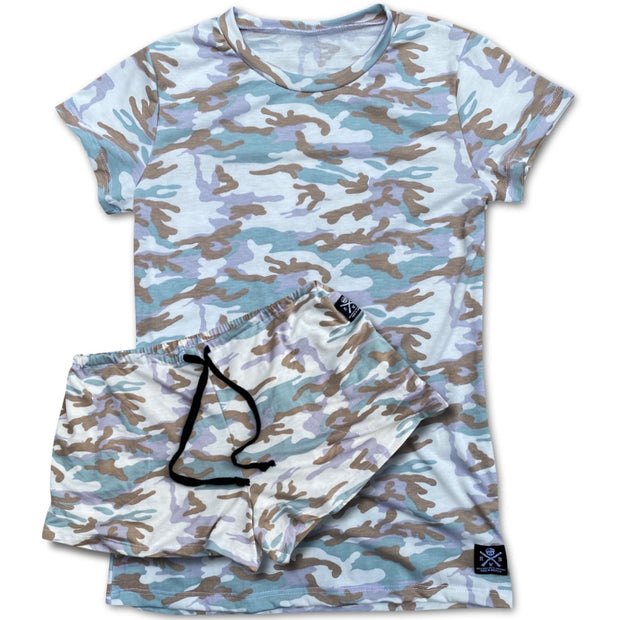 Women's Lounge Shorts & Top Pajama Set (Pastel Camo)