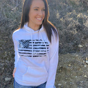Women's Camo American Flag Pullover Hooded Sweatshirt (White)