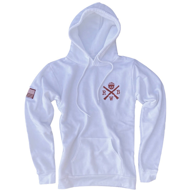 Women's American Flag Patch Patriotic Pullover Hooded Sweatshirt (White)