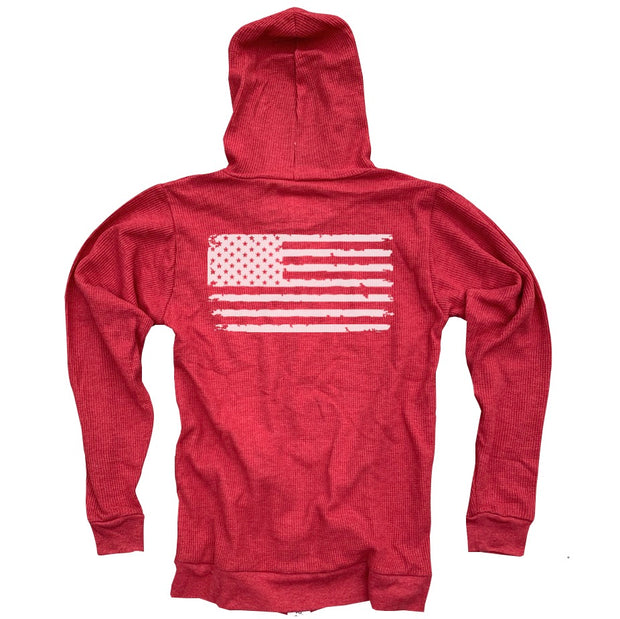 Women's Old Glory American Flag Light Zip Thermal Hoodie