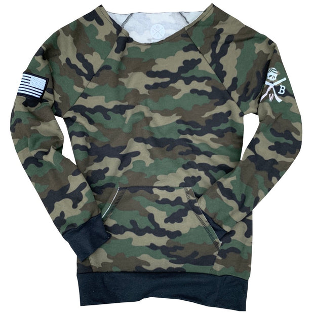 Women's American Flag Patch Pullover Off The Shoulder Sweatshirt (Camo)