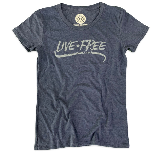 Women's Live Free Patriotic T-Shirt Navy