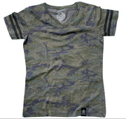 Women's Woodland Camo Jersey V-Neck T Shirt