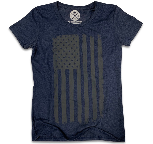 Women's Vertical Hand Sketched American Flag T-Shirt (Navy)
