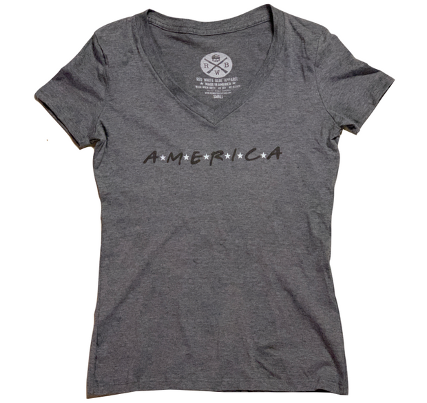 Women's America Patriotic V-Neck T Shirt