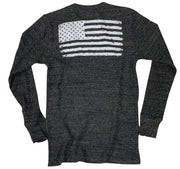 Women's Old Glory American Flag Long Sleeve Thermal Shirt (Black)