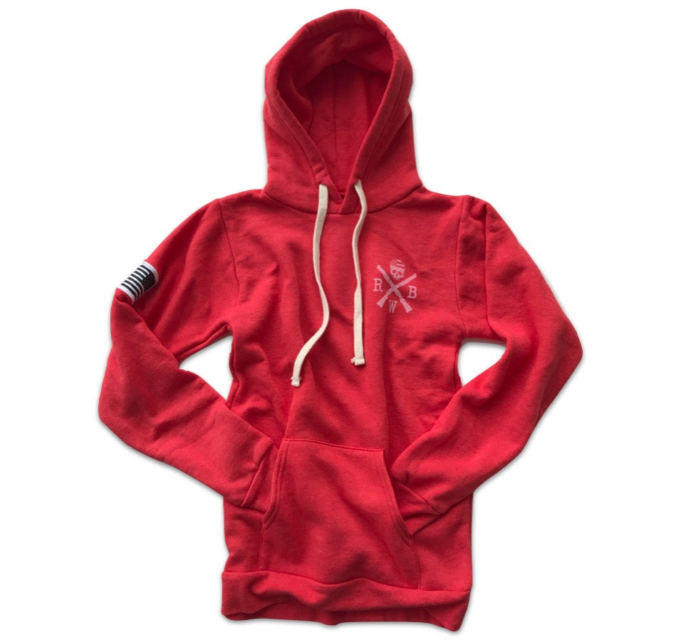 4775fe64a1e Women s American Flag Patch Pullover Hooded Sweatshirt