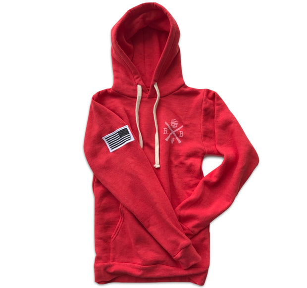 Women's American Flag Patch Pullover Hooded Sweatshirt