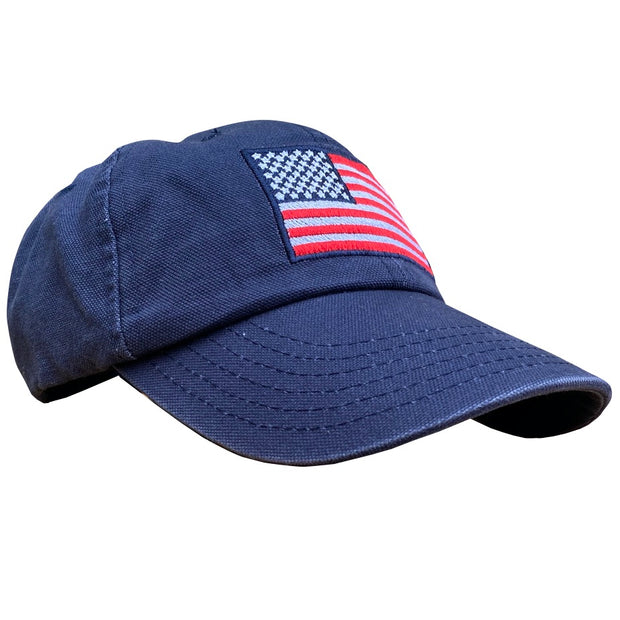 Women's American Flag Vintage Washed Dad Hat Navy