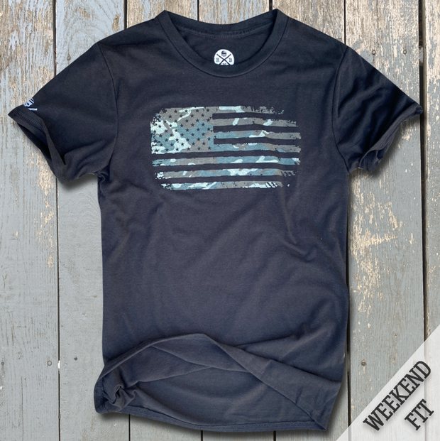 Women's Camo American Flag Weekend Fit T-Shirt (Black)