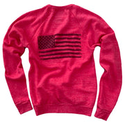 Women's Old Glory American Flag Ultra Soft Crew Neck Sweatshirt (Red)