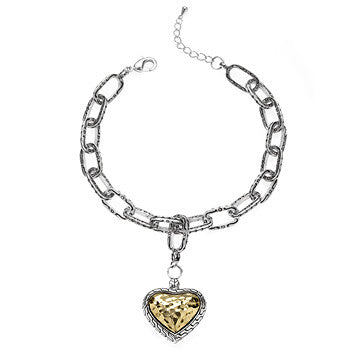 Antique Golden Heart Charm Bracelet