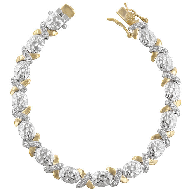 Two-Tone CZ Fashion X-Bracelet