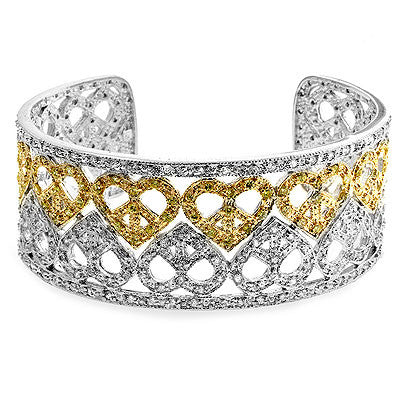 Two-Tone Cuff Bracelet with Clear Cubic Zirconia