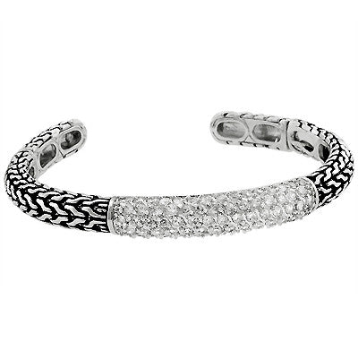 Sterling Silver Tribal CZ Cuff