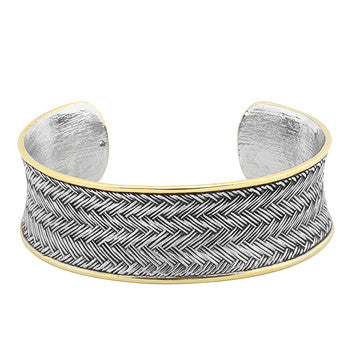 Tutone Weaved Bracelet Cuff