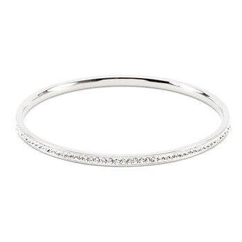 Simple Silvertone Crystal Bangle
