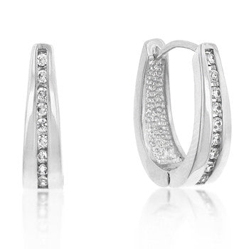 Elegant Silvertone CZ Hoop Earrings
