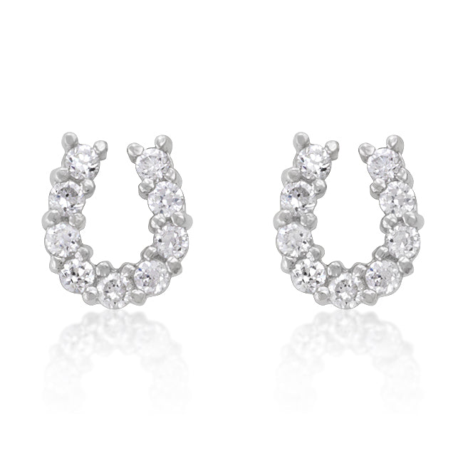 Crystal Horseshoe - Modern White Gold Sterling Silver Horseshoe Stud Earrings