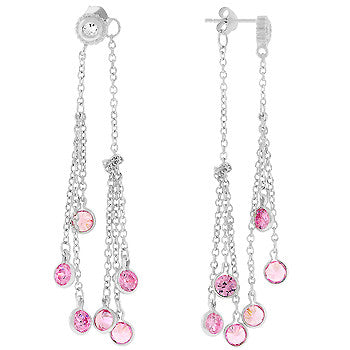 Pink Chain Link Dangle Earrings