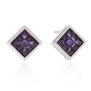 Sterling Purple Crystal Earring Studs