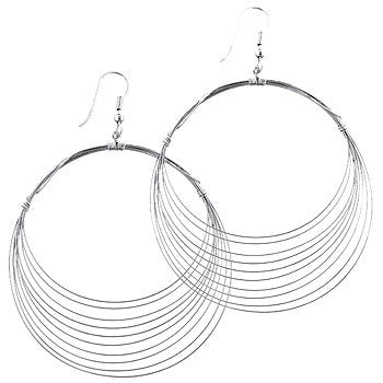 Silver Crest Hoop Earrings