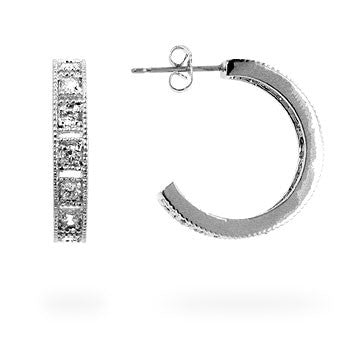 Florence Silvertone Hoop Earrings