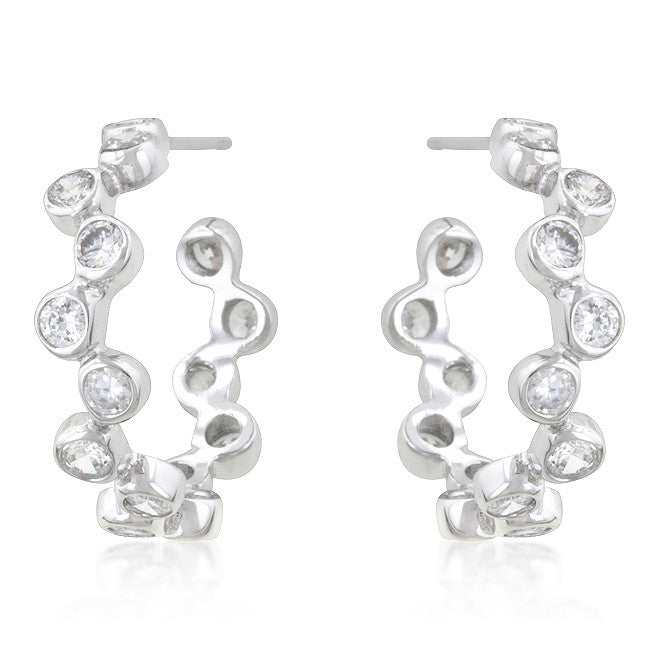 Floating CZ Hoop Earrings