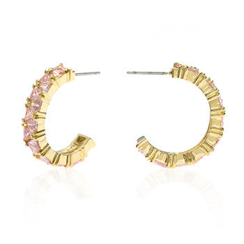 Trillion Cut Pink CZ Hoop Earrings Goldtone