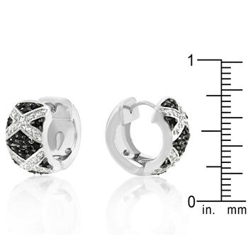 Black CZ Huggies Earrings
