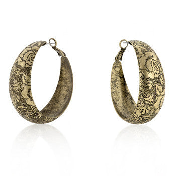 Floral Baroque Hoop Earrings